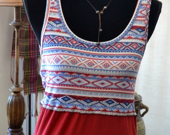 Blue & Red Tribal Tank
