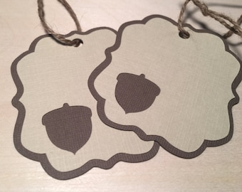 Woodland Acorn Gift Tags; Acorn Tags; Gift Tags with Acorn Cutout - 12 count
