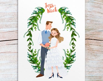 Wedding gift, custom wedding portrait, wedding illustration, bride and groom illustration, wedding dress illustration, couple portrait