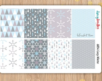 Cozy Winter Weekly Kit Stickers perfect for Erin Condren and Happy Planner( DD34)