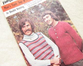 Retro Man's Tank Top and Skinny Rib Sweater -    Size 38 to 42 Inch Fontana Knitting Pattern 1338