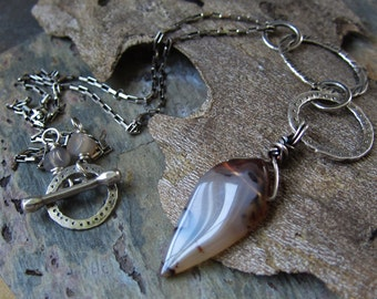 Tapered Silver and Agate Necklace - Choose Your Own Stone - hammered silver necklace