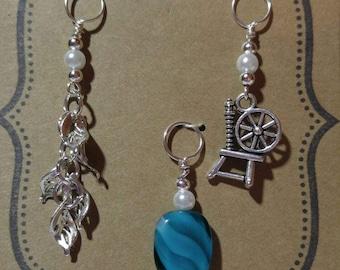Knitting stitch marker charms set of 3