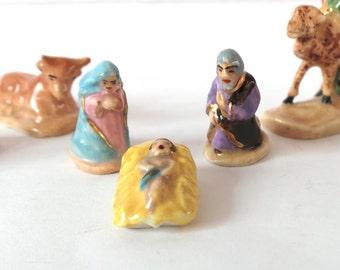 Tiny French Nativity 8 Piece Set, Santons de Provence, Creche Scene, Mary & Joseph, Nativity Figurines