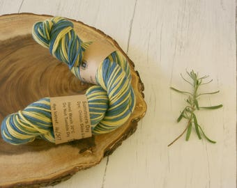 Merino Wool 100g skein DK, double knit, Indigo and Onion Skin Dyed Variegated Green, Blue, Yellow, Hand Dyed, Natural Dyed, plant dyes