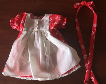 """Red dress with vintage hanky apron for 12"""" Waldorf doll"""