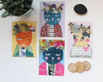 """Lot de 4 cartes postales """"Frida Kahlo"""", 10,5x14,7cm"""