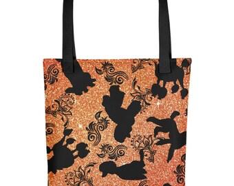 All Over Poodle Dog Poodles & Tattoo Floral on Copper Background Tote Market Book Bag