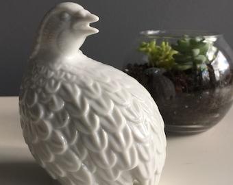 Vintage white porcelain quail, partridge