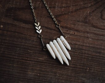 roam. an earthy bohemian howlite spike + chevron necklace