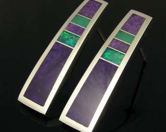 Australian Opal Earrings with Sugilite and Chrysoprase, Opal Inlay Earrings, Sugilite Earrings by Hileman