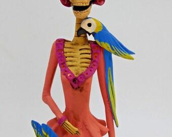 """FRIDA KAHLO CATRINA handmade clay figurine, day of the dead mexican folk art 10"""""""