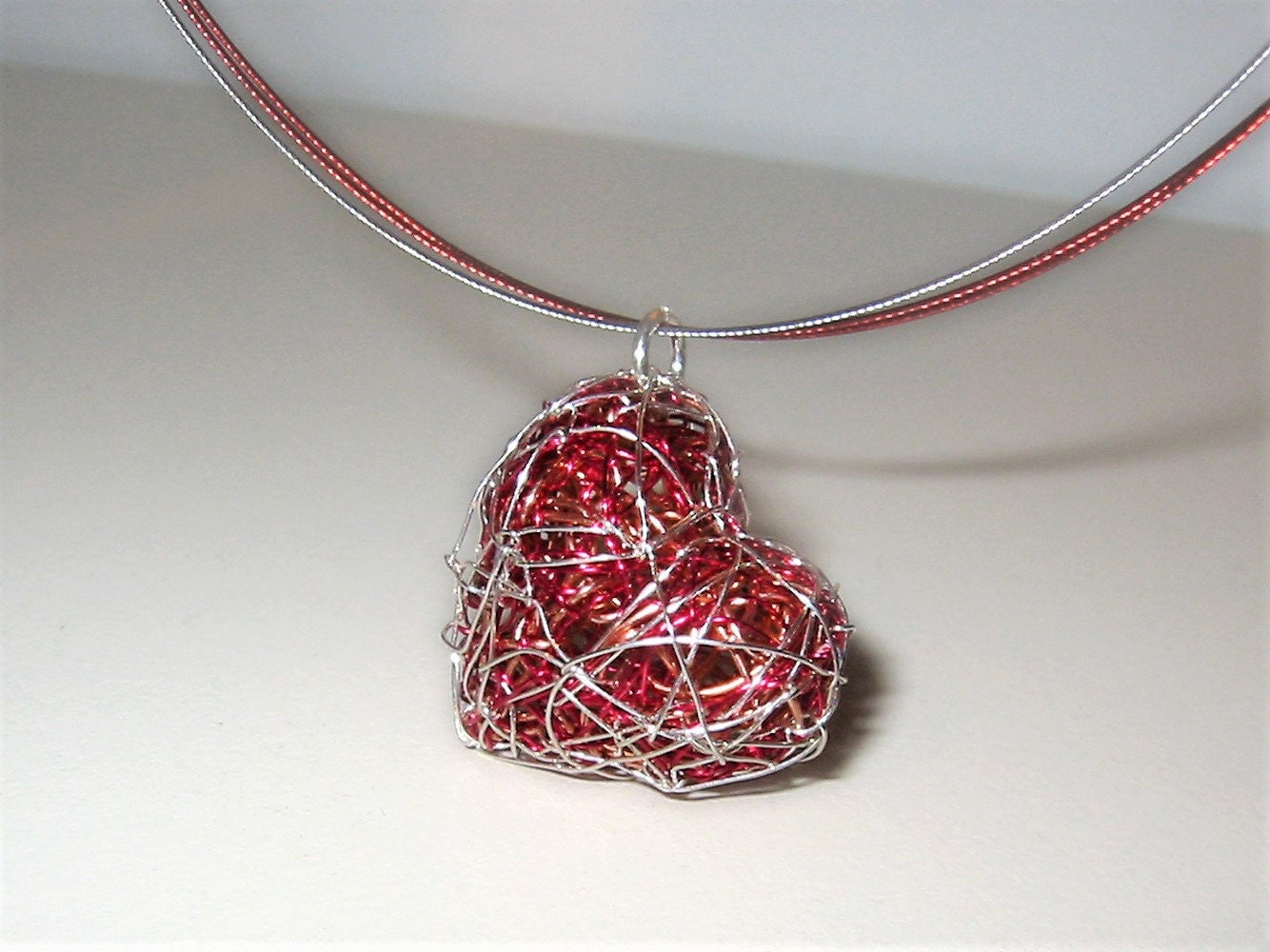 Heart necklace for women, cute pendant, red necklace, handmade ...