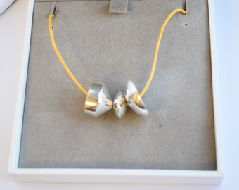 Handmade Sterling Silver Abacus Necklace in Yellow.