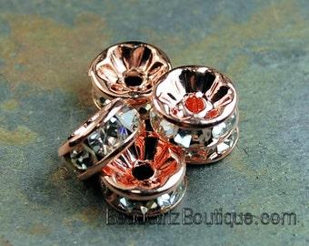 Rose Gold Rhinestone Beads, Grade AAA, Nickel Free, Rondelle, Crystal, 6.3mm -25