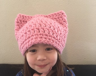 Light Pink Peony Pussy Hat Project - Women Adult Kitty Beanie - cat Hat - women's March