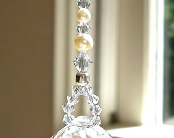 """Swarovski Crystals and Pearls Suncatcher, 20mm (1.8"""") Logo-Etched Swarovski Crystal Ball, Lightcatcher, Comes in 14 Colors- """"PEARL"""""""