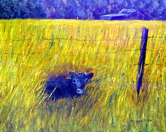 Oil Painting, 'Spring Calf' Farm, Original art, country art,