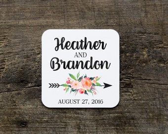 Floral Wedding Coasters, Disposable Tribal Drink Coasters, Custom Paper Coasters, Custom Wedding Favor Coasters, Floral Bridal Shower Favor