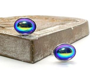 Tropical Rainbow Cufflinks, Light Turquoise Vintage Czech Glass Cufflinks