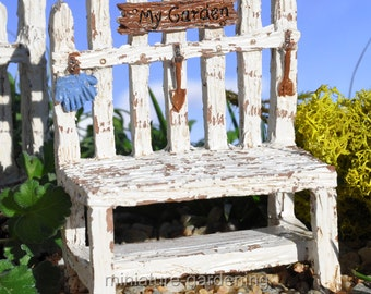 Picket Fence Potting Bench for Miniature Garden, Fairy Garden