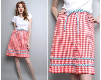 1960's Red White and Blue Gingham Skirt / Small