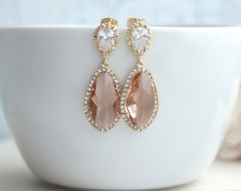 LUX Gold Plated Cubic Zirconia Peach Champagne, Blush Peach Teardrop Earrings. 925 Ear Post. Bridal Jewelry. Wedding Earrings, Light Peach