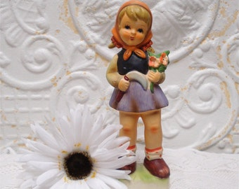 Norleans Japan Girl Figurine Holding Flowers Large