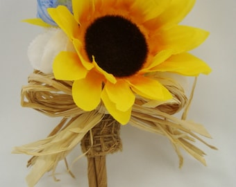 Sunflower Burlap Boutonniere,Rustic Woodland Wedding,Straw Bow Mens Flower Buttonhole,FFT original, Made to order
