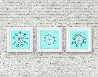 Bright turquoise bathroom wall art set of 3 print mandala poster set boho chic wedding gift set idea hippie wall art grey white blue artwork
