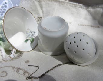 Antique porcelain tea strainer, 1880s, Victorian, 3 pcs, excellent condition, unusual, collectible, tea lover gift, shabby chic,cottage chic