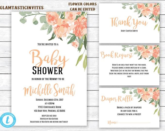 Baby shower Invitation, Floral Baby Shower Invitation, Vintage Baby shower Invitation, Watercolor, Baby Shower Invite, Instant Download