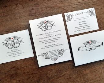 Printable Wedding Invitation Set - Black and White Royal Rings - Black and White Vintage Wedding Invite Set - Instant Download PDF Templates