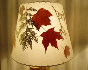 Botanical Lampshade, Pressed Maple Leaf and Cedar Lamp Shade, Rustic Woodland Decor Lampshade, Fall Leaf Lampshade