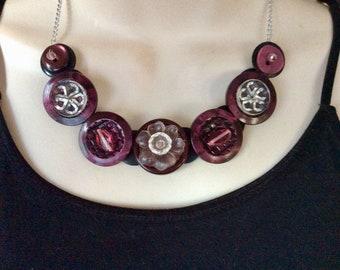 Raspberry Tart button necklace