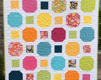 Easy Quilt Pattern-Quilt Pattern PDF-Layer Cake Pattern-Baby Quilt Pattern-Modern Quilt Pattern-Bed Quilt Pattern-Quilt Tutorial-7 Sizes