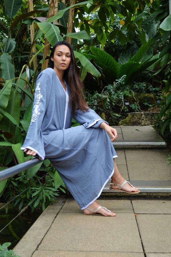 Grey Floral Kaftan Marrakech Bohochic Caftan, Lounge Dress, Embroidered kaftan, Embroidered Dress, Ramadan, Eid, boho , maxi dress