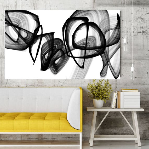 """Existence, Black and White Contemporary Abstract Wall Decor, Large Contemporary Canvas Art Print up to 72"""" by Irena Orlov"""