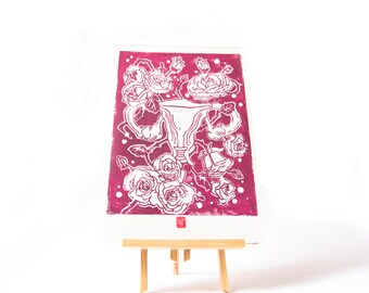 LINOCUT PRINT- anatomical uterus - artistic print- linogravure-burgundy