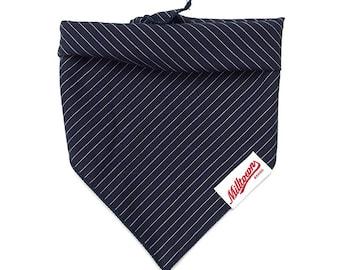 Dog Bandana - Navy Pin Stripe