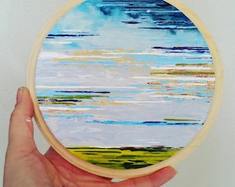 Small Abstract cloud landscape sky painting horizon
