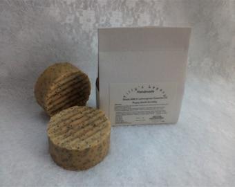 Lemongrass & Poppy Seed Scrubby Goats Milk Handmade Soap Bar. Gentle Exfoliator, Palm and SL Free