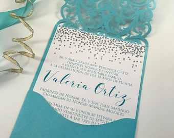 Quinceanera Invitations. Aqua and silver quince invite. Laser Cut Invitation. Glitter Quinceanera Invite.