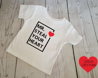 Mr Steal Your Heart | Boys Valentines Shirt | Cute | Heart | Valentines Shirt
