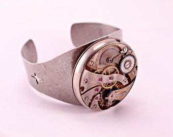 Steampunk Oxidized Watch Part Cuff Cog Gears Spinner Industrial