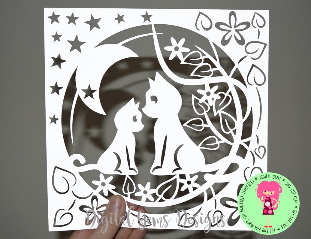 Mother and Child Cat Papercut Template SVG / DXF Cutting File For ...