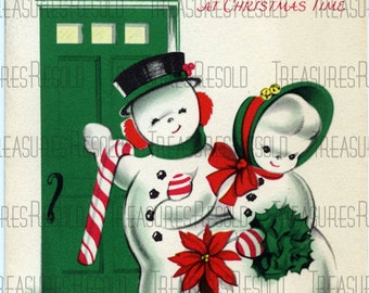 Retro Snowman Couple Christmas Card #301 Digital Download
