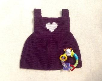Baby dress with purple straps 3 months crochet plum, heart,