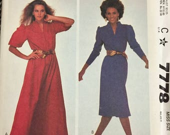80's McCall's 7778  Misses' Pullover Dress Bust 34 inches  Complete Uncut FF