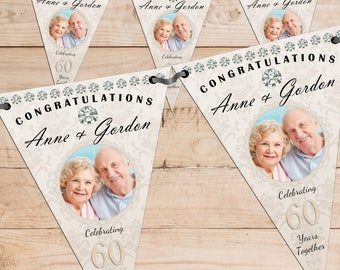 Personalised 60th Diamond Wedding Anniversary PHOTO Flag Banner Bunting with ribbon N59 (10 Flags ) Hanging Decoration